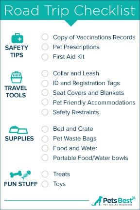 pet road trip checklist!
